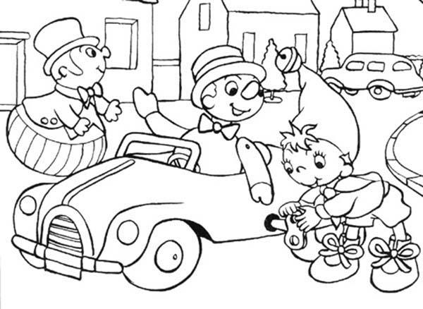 Noddy Play In The Town Coloring Pages