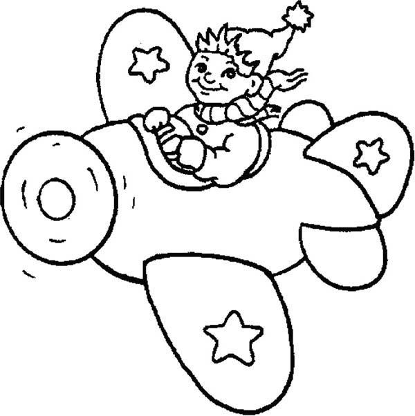 Noddy Ride An Airplane Coloring Pages