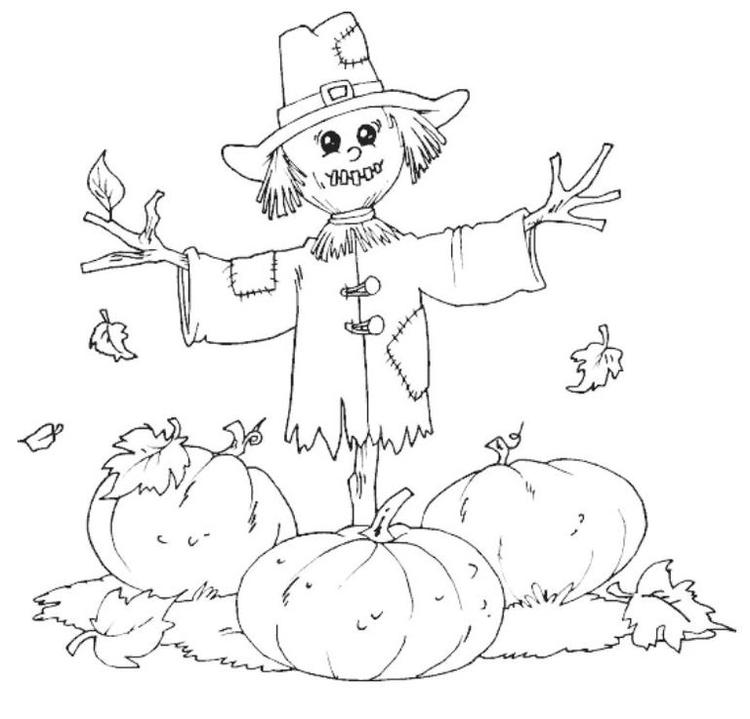November Coloring Pages Scarecrow And Pumpkins