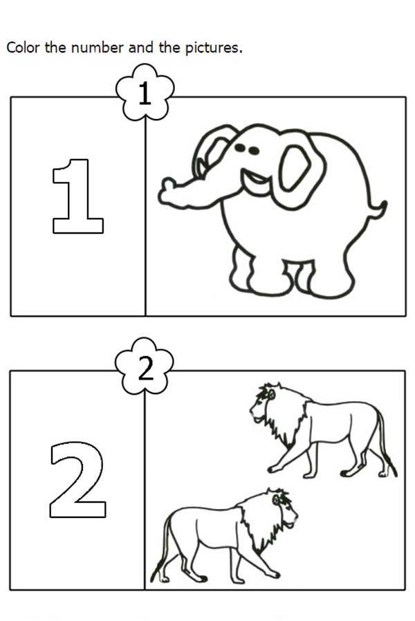 Number 2 For Two Lions Coloring Page