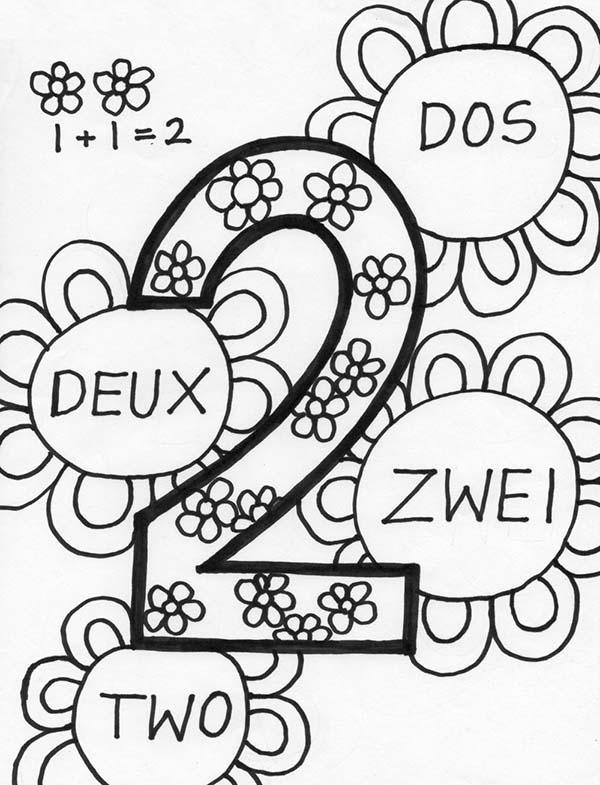 Number 2 In Several Language Coloring Page