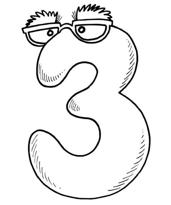 Number 3 Wearing Glassess Coloring Page