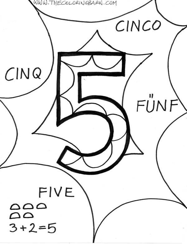 Number 5 In Several Language Coloring Page