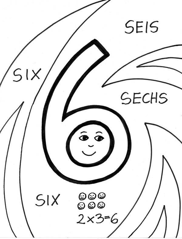 Number 6 In Several Language Coloring Page