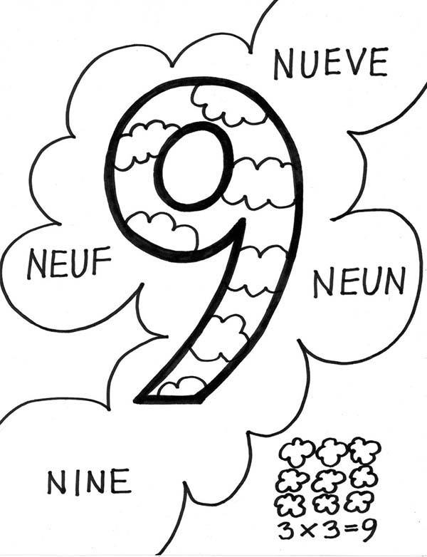 Number 9 In Several International Language Coloring Page