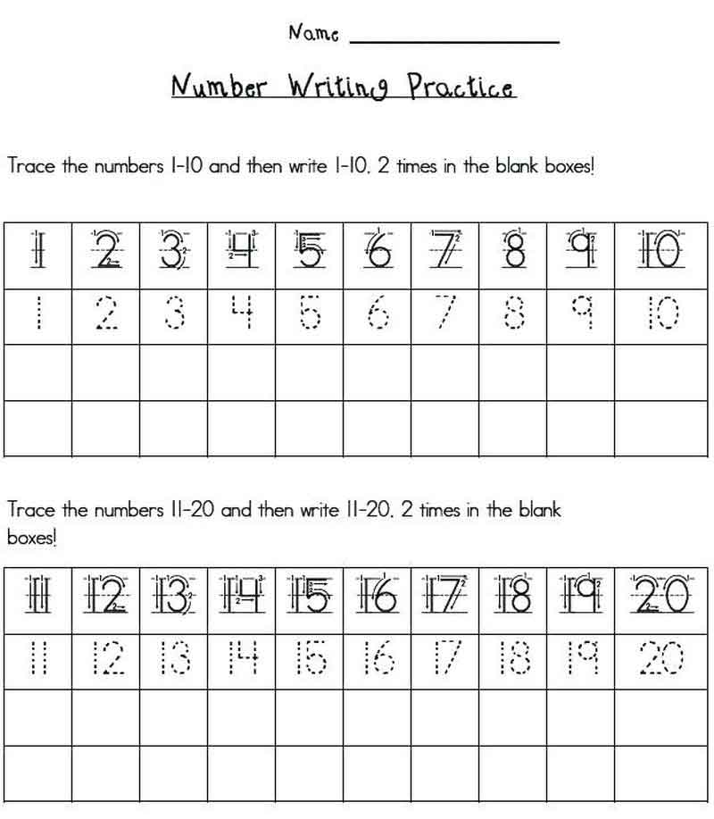Number Practice Kindergarten Handwriting Worksheets