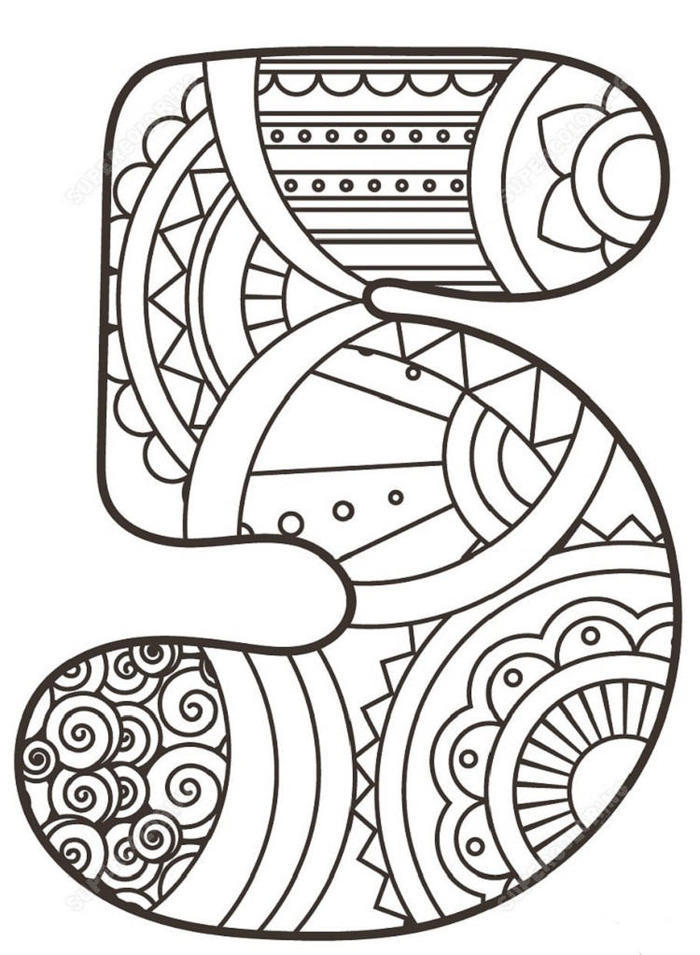 Numbers 5 Zentangle Coloring Pages