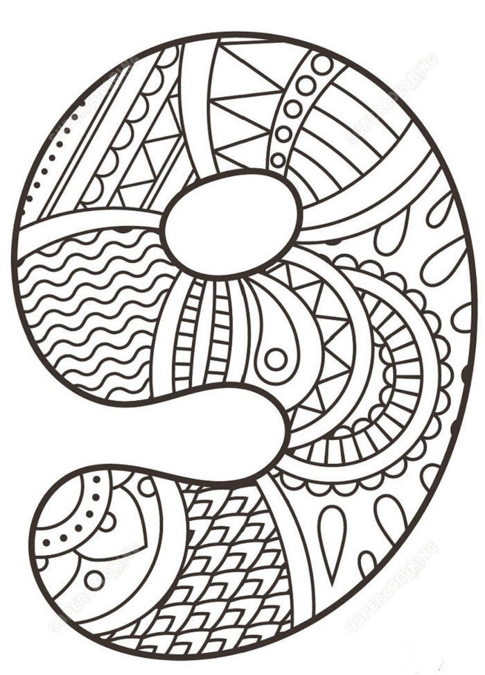 Numbers 9 Zentangle Coloring Pages