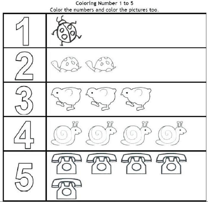 Numbers Coloring Pages 1 5