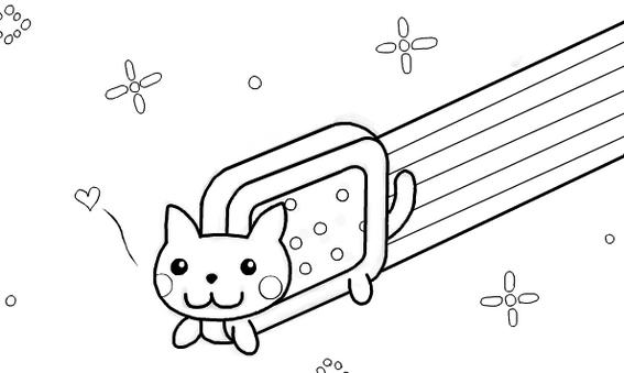 Nyan Cat Anime Coloring Page