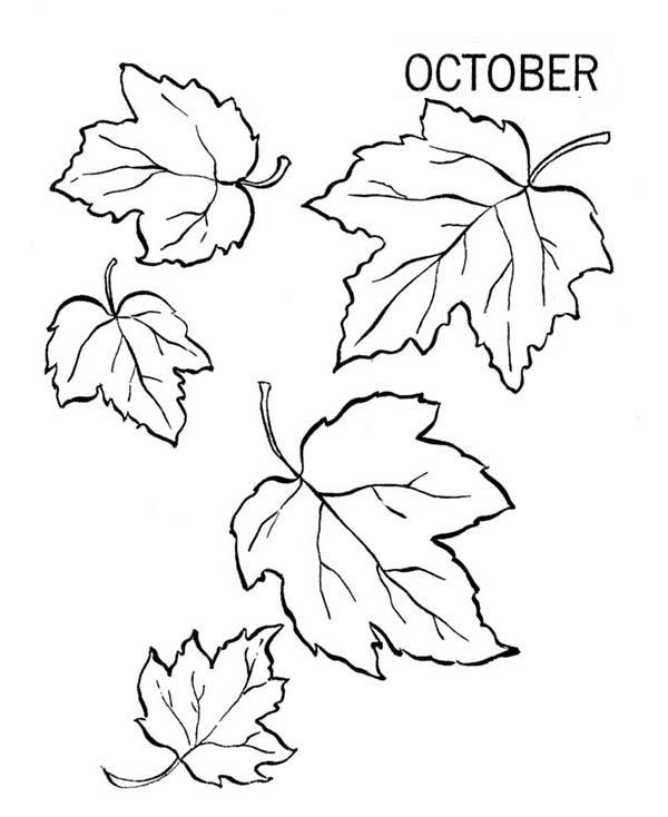 October Autumn Leaves Coloring Pages