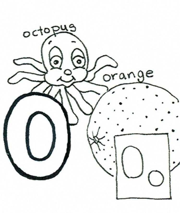 Octopus And Orange Alphabet Coloring Pages