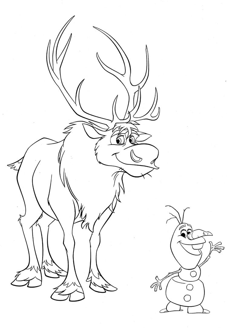 Olaf Coloring Pages With Sven