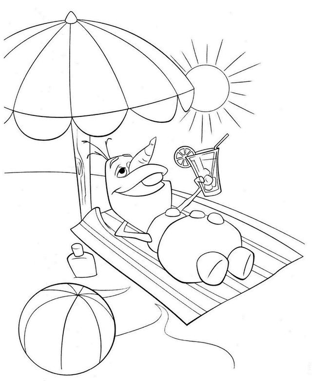 Olaf On The Beach Coloring Page