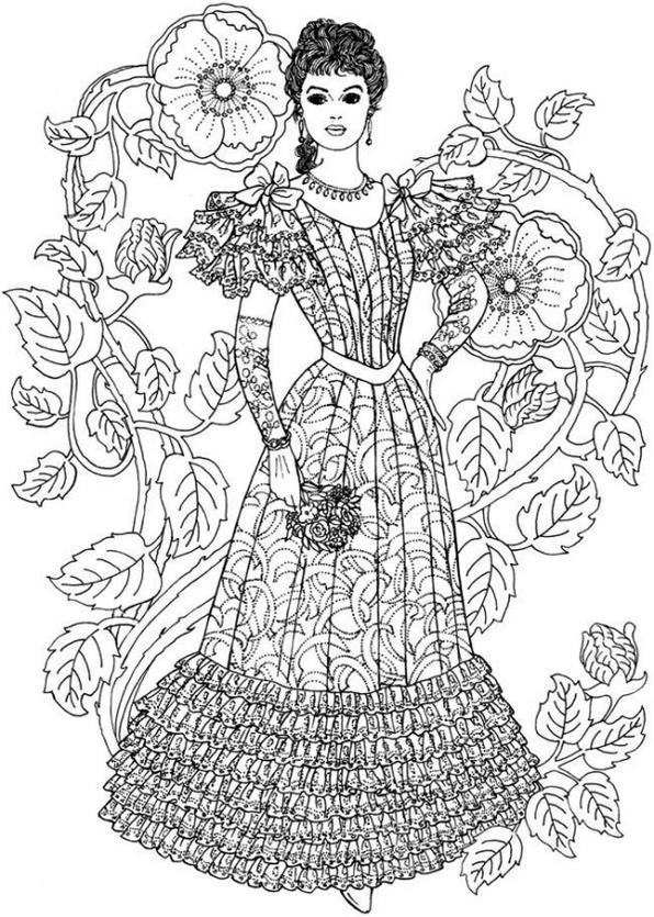 Old Fashion Dress Coloring Page Printable