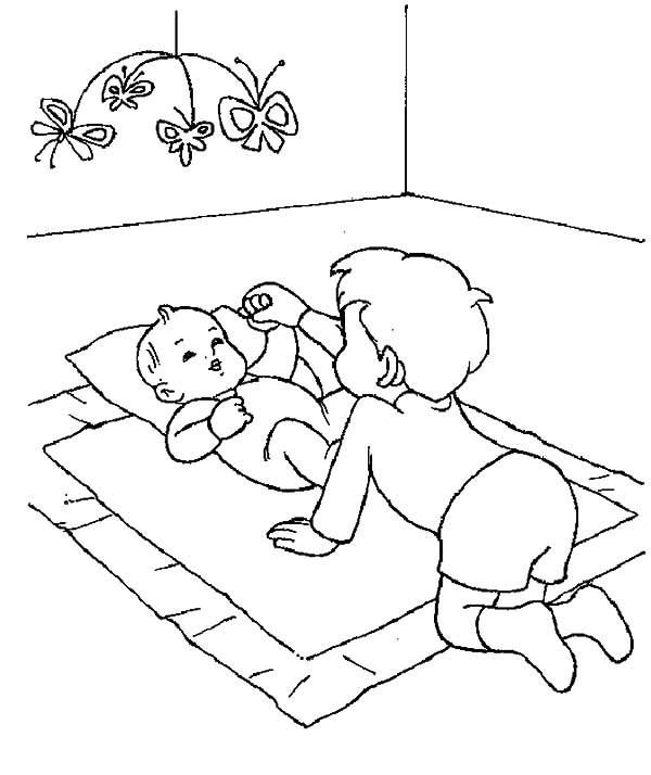 Older Brother Play With Babies Coloring Pages