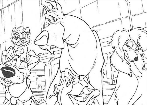 Oliver And Company Characters Hangout Together Coloring Pages