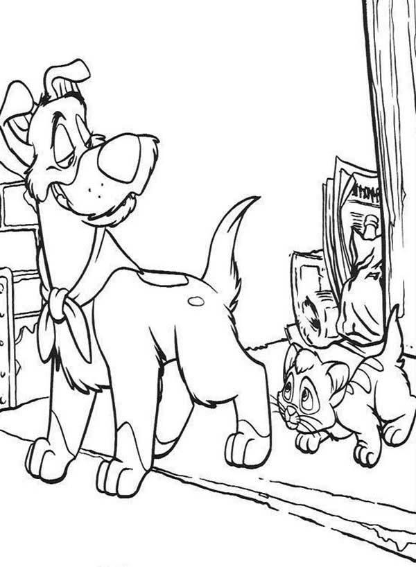 Oliver Following Wherever Dodger Go In Oliver And Company Coloring Pages