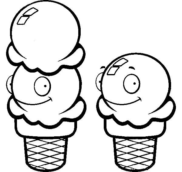 One And Two Scoop Of Ice Cream Cone Coloring Pages