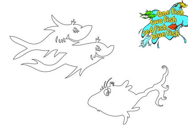 One Fish Two Fish Cut Outs Coloring Page For Little Angels