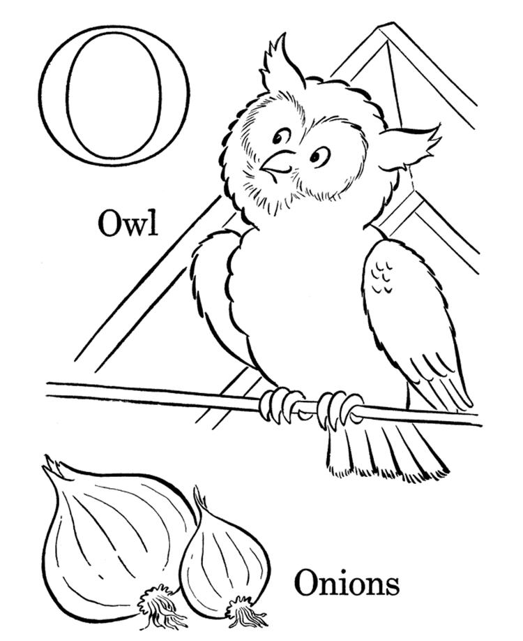 Onions And Owl Alphabet Coloring Pages