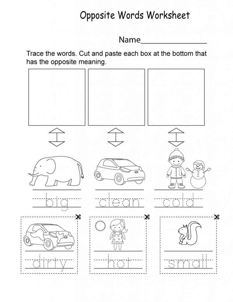 Opposite Words Kindergarten English Worksheets