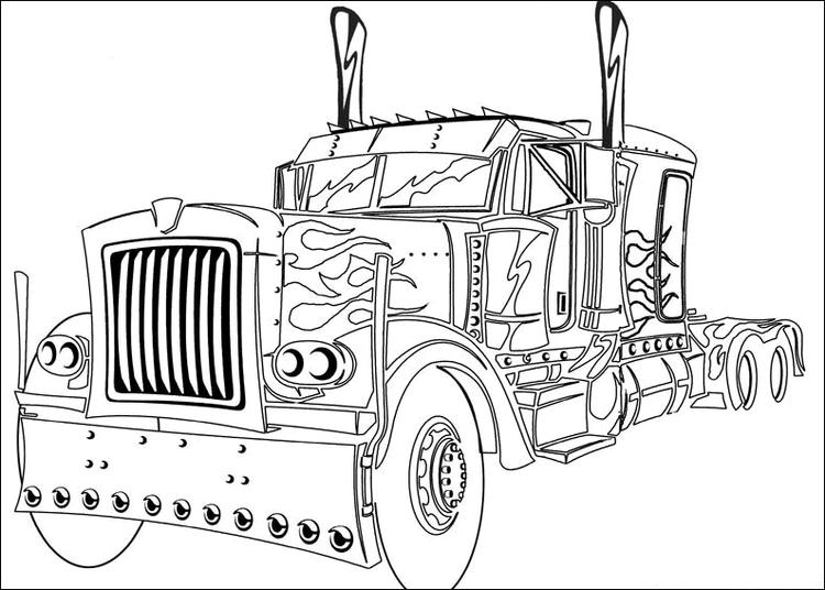 Optimus Prime Coloring Pages Truck