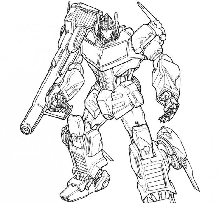 Optimus Prime Coloring Pages Weapon