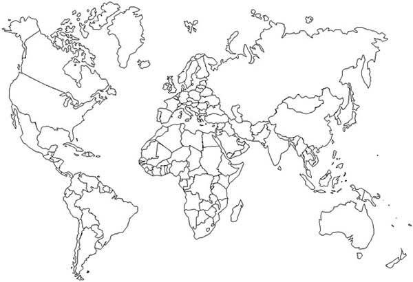 Outline World Maps Coloring Pages