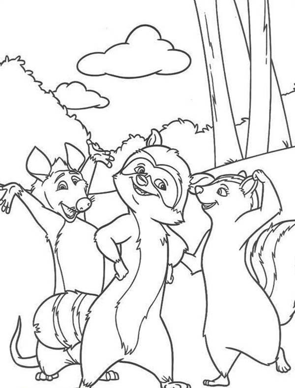 Over The Hedge Walking In The Wood Coloring Pages