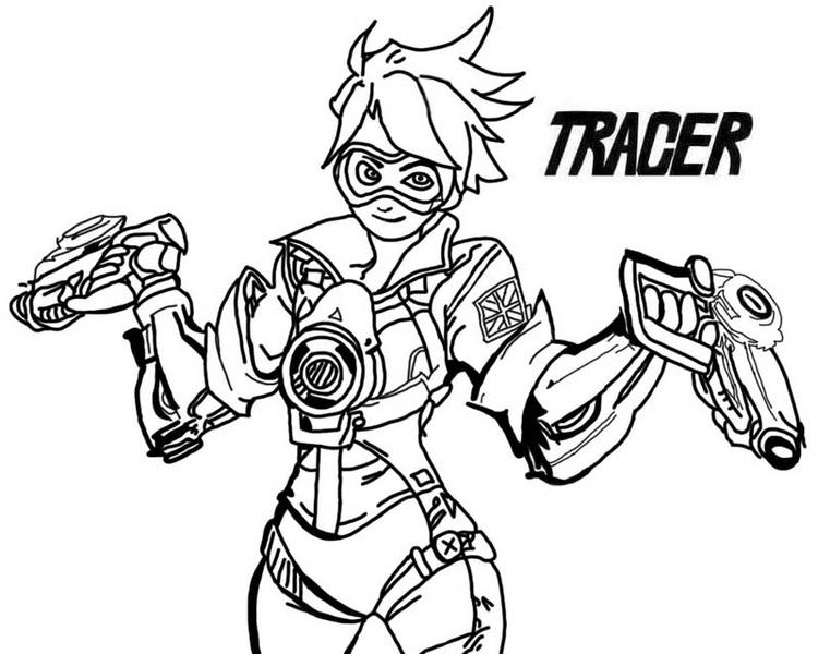 Overwatch Tracer With Ammunition Guns Coloring Page