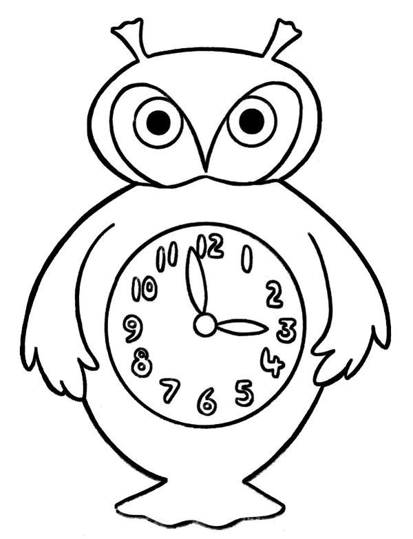 Owl Clock Coloring Page Design