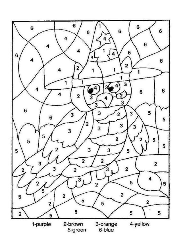 Owl Color By Numbers Coloring Pages