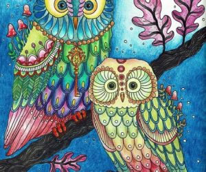 Owl coloring pages already colored
