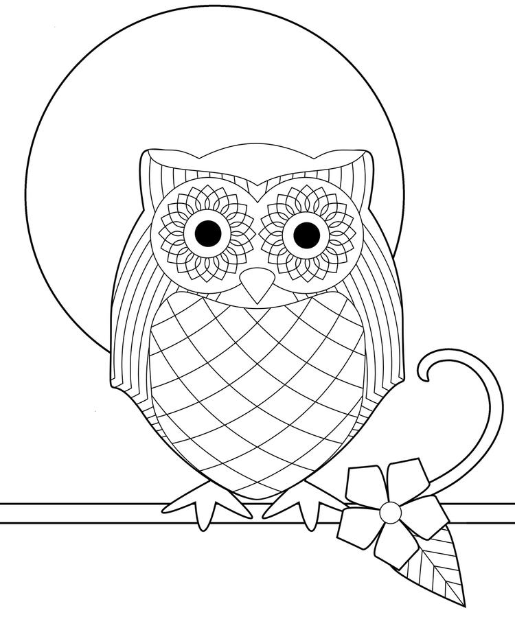 Owl Coloring Pages Full Moon