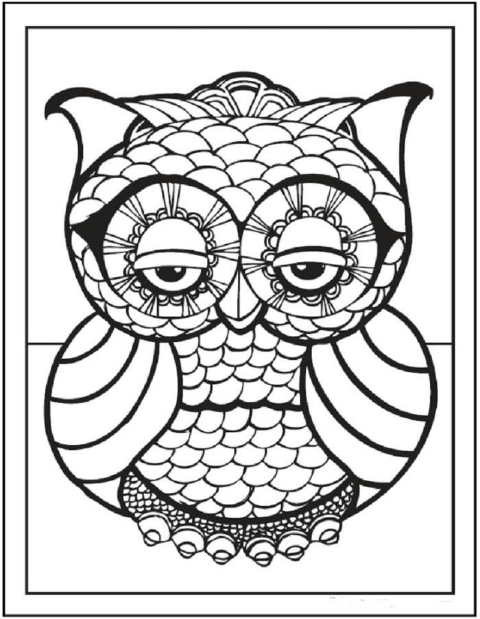 Owl Geometric Coloring Pages