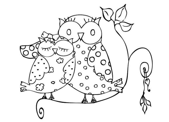 Owl Valentine Coloring Pages