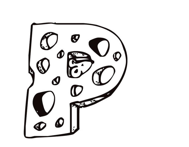P Cheese Free Alphabet Coloring Pages