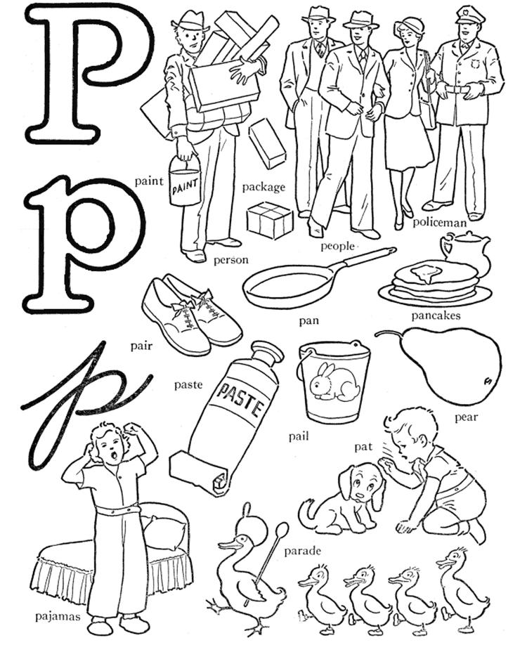 P Words Free Alphabet Coloring Pages