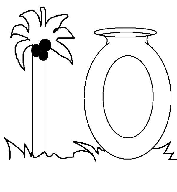 Palm Tree For Number 10 Coloring Page