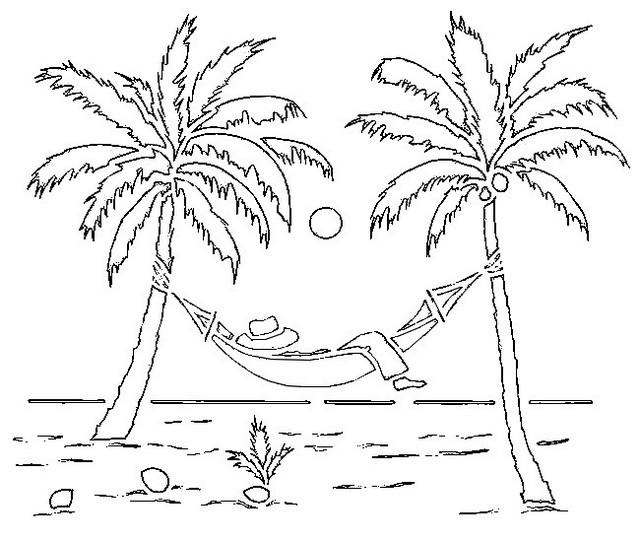 Palm Tree On The Beach Coloring Page
