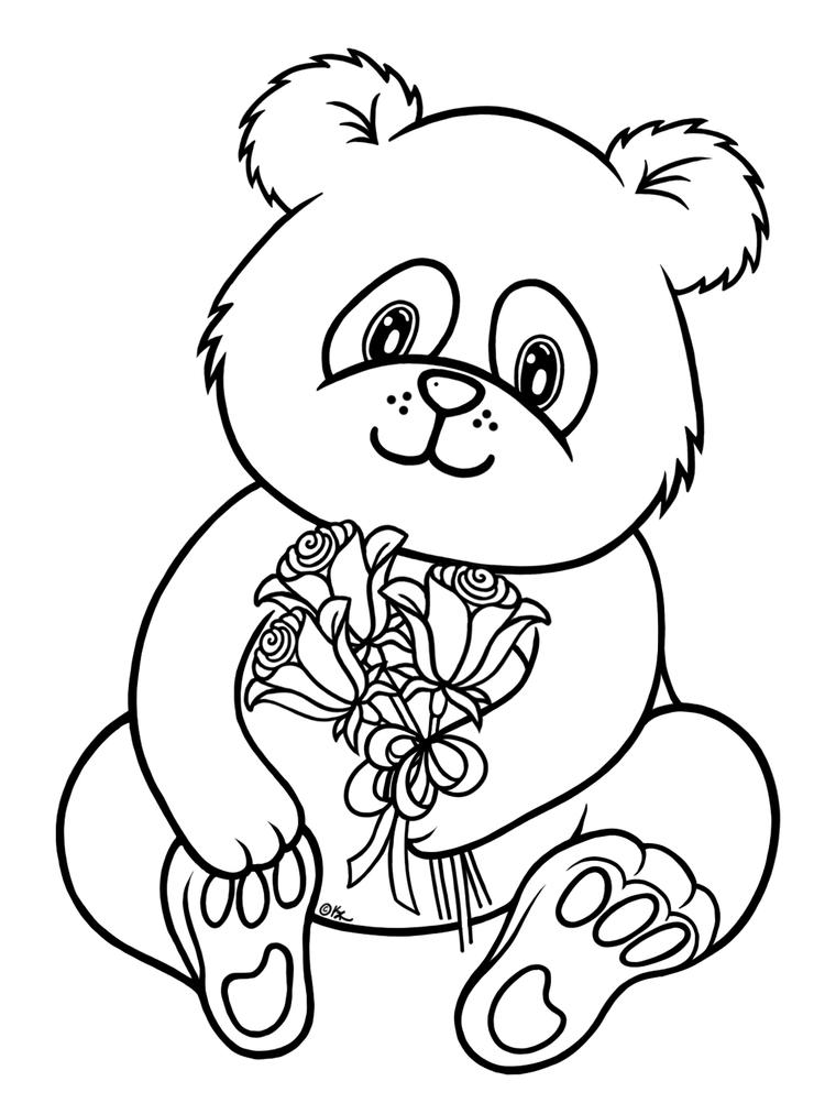 Panda Coloring Pages With Flowers