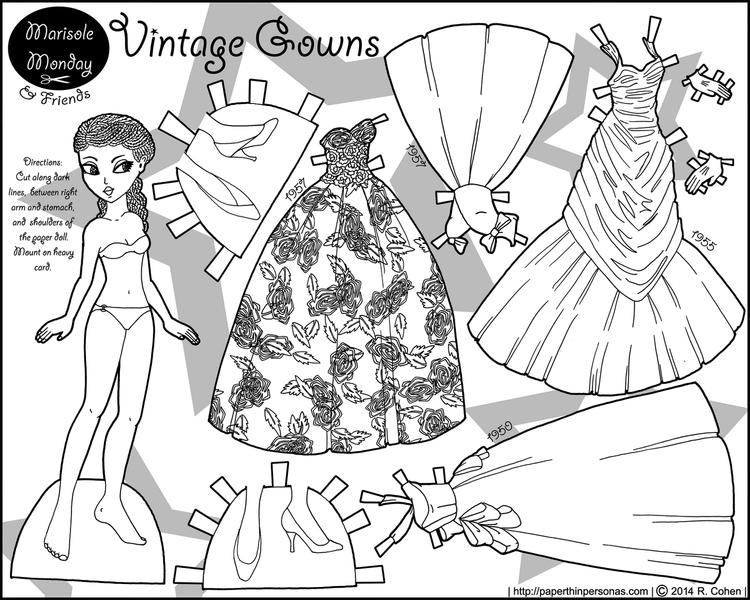 Paper Doll Vintage Gowns Coloring Page