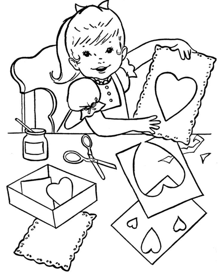 Paper Heart Valentine Coloring Pages
