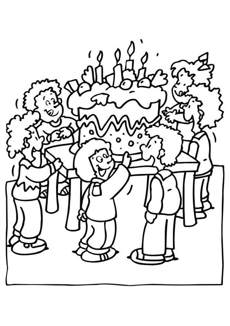 Party Birthday Coloring Pages For Kids