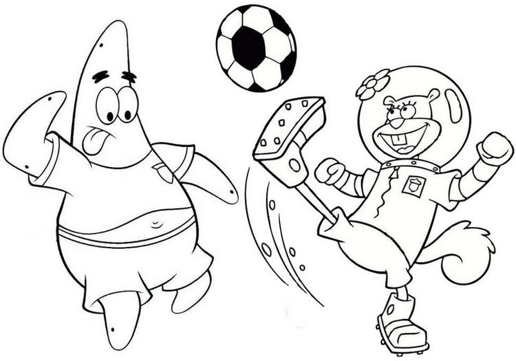 Patrick And Sandy Cheeks Playing Ball Coloring Page