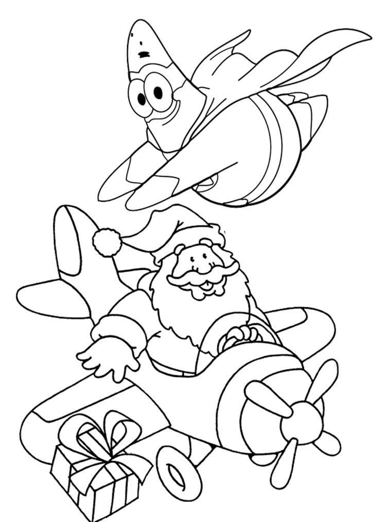 Patrick And Santa Christmas Coloring Page