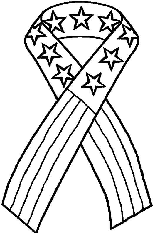 Patriotic Coloring Pages American Flag Ribbon