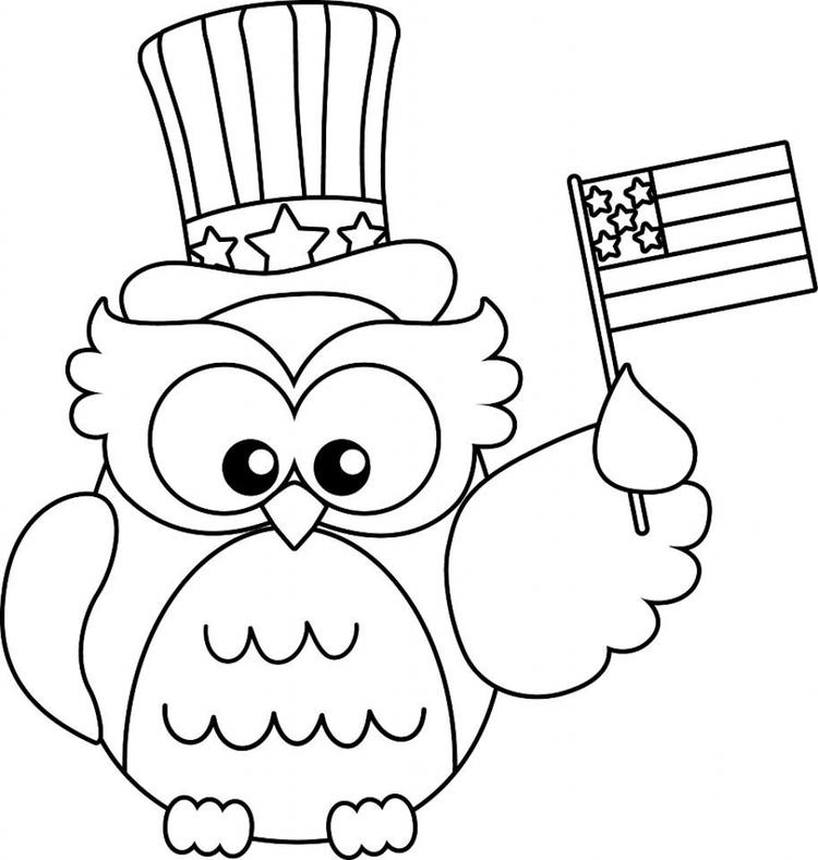 Patriotic Coloring Pages Cute Owl
