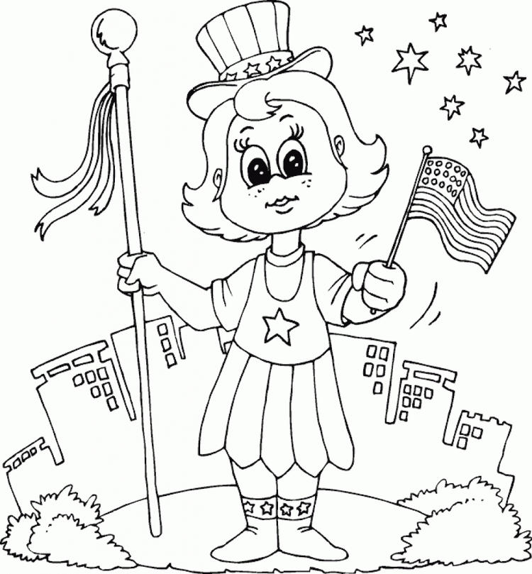 Patriotic Girls Coloring Pages
